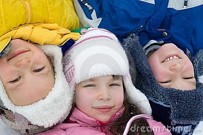Kids Playing On a Winter Day