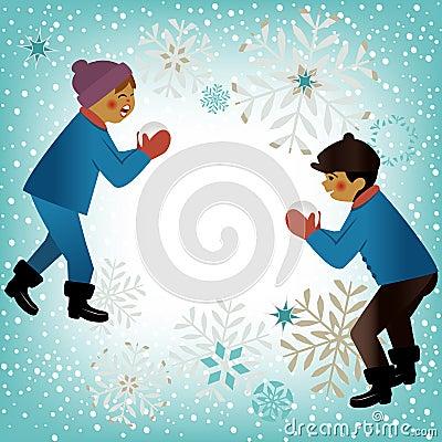 Kids playing winter theme
