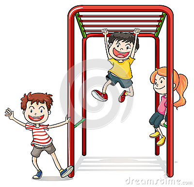 Free Kids Playing With A Monkey Bars Stock Image - 33203641