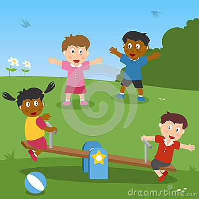 Free Kids Playing With Seesaw Stock Photography - 25805232
