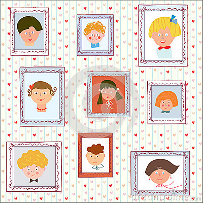 Kids portraits on the wall gallery
