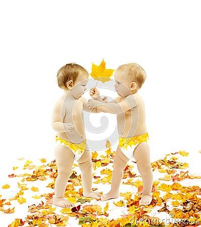 Autumn Baby Kids, Yellow Leaf Gift, Children Present on White