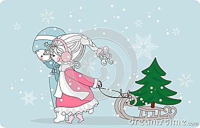 Kids pulling christmas tree on sleigh