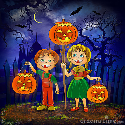 Kids with pumpkins celebrate halloween.