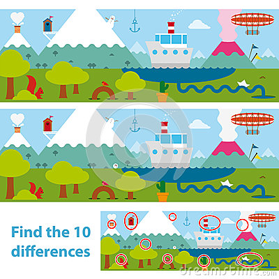 Free Kids Puzzle Of A Lake And Mountains Difference Royalty Free Stock Image - 34194436