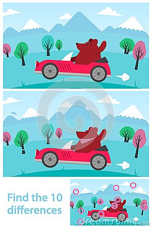 Kids Puzzle Spot The 10 Differences Stock Vector Image