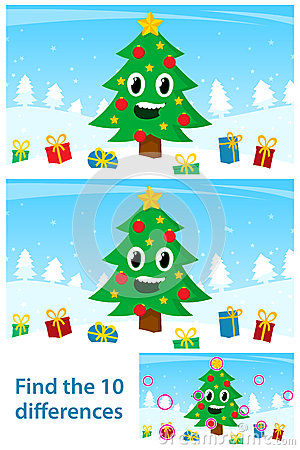 Free Kids Puzzle With A Happy Christmas Tree Stock Photo - 46913480