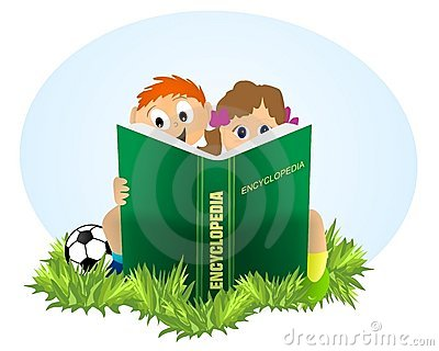 Kids reading Encyclopedia, cdr vector