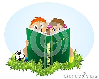Kids reading Encyclopedia, cdr vector