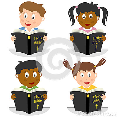 Free Kids Reading The Holy Bible Royalty Free Stock Image - 26860026