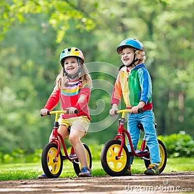 Free Kids Ride Balance Bike In Park Royalty Free Stock Image - 109997826
