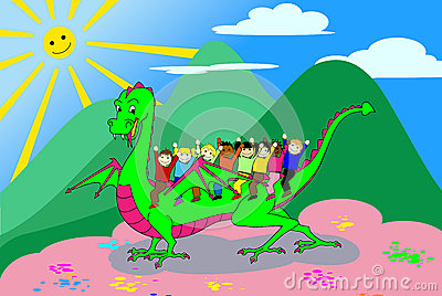 Kids riding the dragon - with clipping path