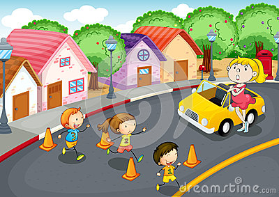 Kids on road