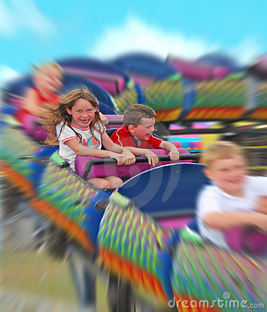 Kids on rollercoaster