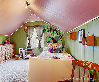 Kids Room In Green And Pink Color Stock Photo Image
