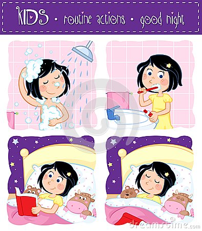 Free Kids Routine Actions - Good Night Sleep Tight Royalty Free Stock Image - 105440986
