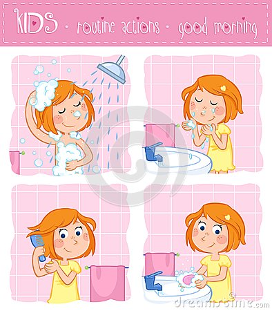 Free Kids - Routine Actions - Tooth Brushing, Washing Face, Taking A Shower, Hair Care - Girl With Ginger Hair Royalty Free Stock Images - 102778269