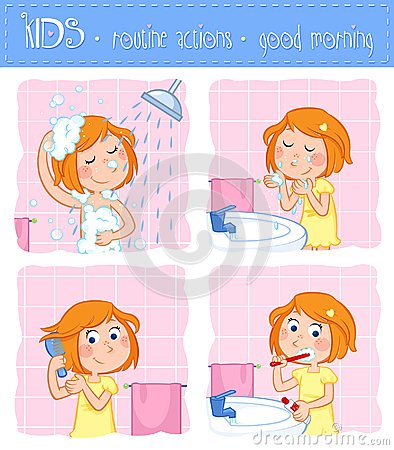 Free Kids - Routine Actions - Tooth Brushing, Washing Face, Taking A Shower, Hair Care - Girl With Ginger Hair Stock Image - 102778511