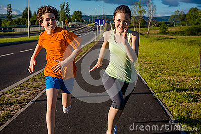 Kids running, jumping outdoor