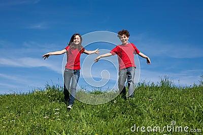 Kids running outdoor