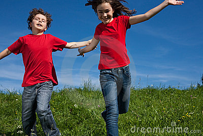 Kids running outdoor