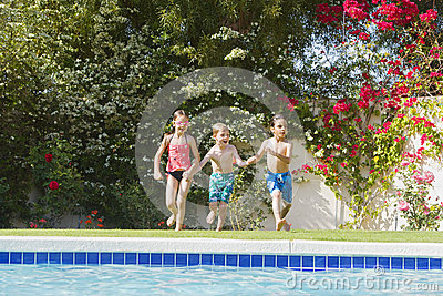 Kids Running Toward Swimming Pool