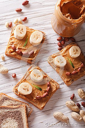 Free Kids Sandwiches With Peanut Cream And Banana. Top View Royalty Free Stock Images - 54215379