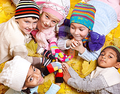 Kids in scarves and hats