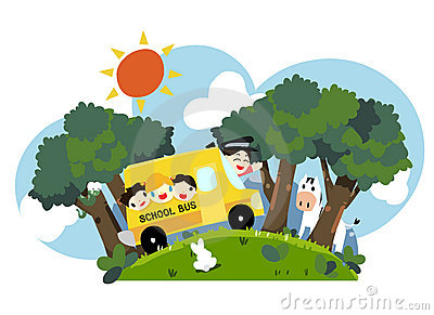 kids on school bus - vector
