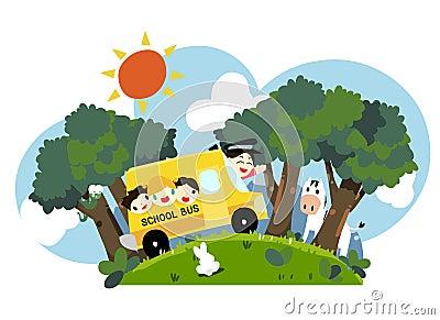 kids on school bus - vector