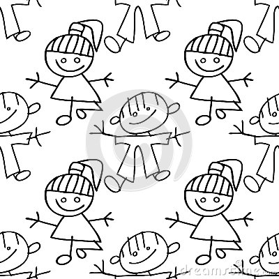 Kids seamless pattern doodle