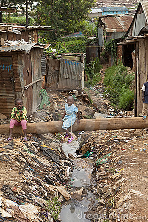 Kids and sewage, Kibera Kenya Editorial Photo