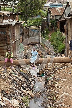 Kids and sewage, Kibera Kenya Editorial Photo
