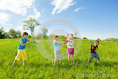 Kids shooting water