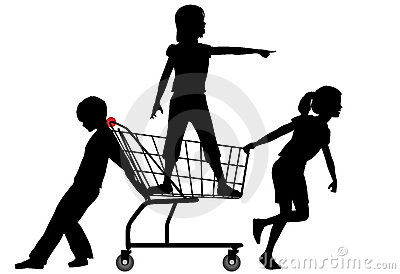 Kids shop cart rolling big shopping spree
