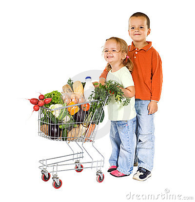Kids shopping healthy food