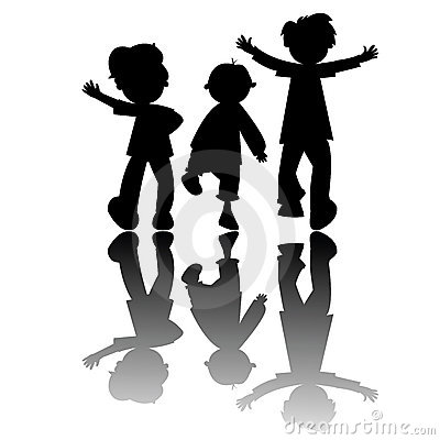Kids silhouettes isolated on white background