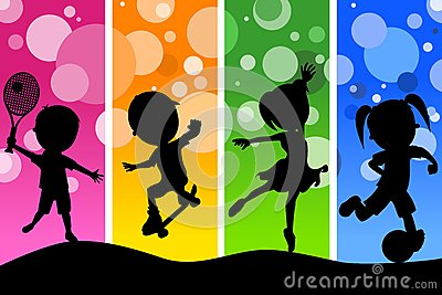 Kids Silhouettes Playing Sports Background
