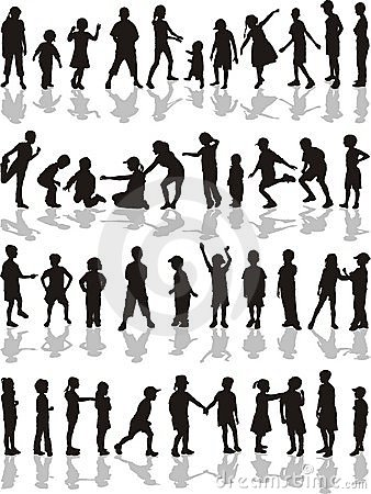 Kids silhouettes, vector illustration