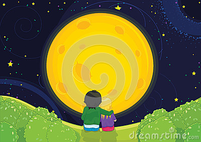 Kids sitting under moonlight vector illustration