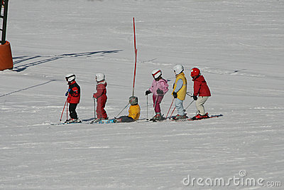 Kids on ski run