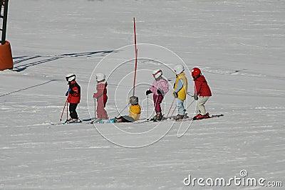 Kids on ski run