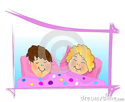 Kids sleeping, cdr vector