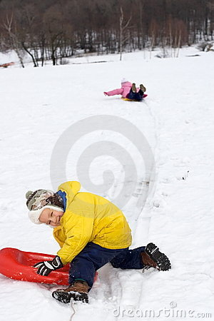 Kids Sliding in Fresh Snow