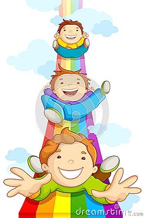 Free Kids SLiding On Rainbow Stock Image - 26188711