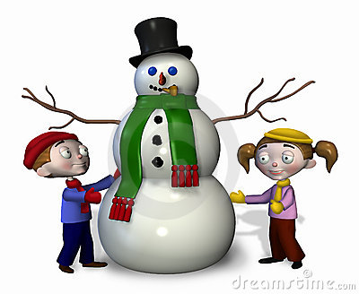 Kids with Snowman - with clipping path