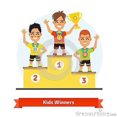 Free Kids Sport Winners Standing On Podium Royalty Free Stock Image - 62843186