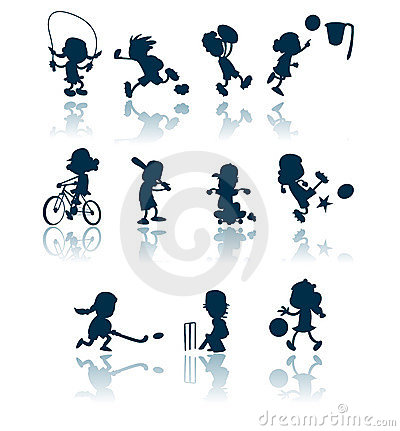 collection of silhouettes / cutouts of children engaged in various ...