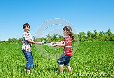 Kids spraying water