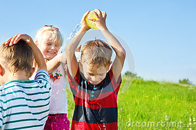 Kids spraying water